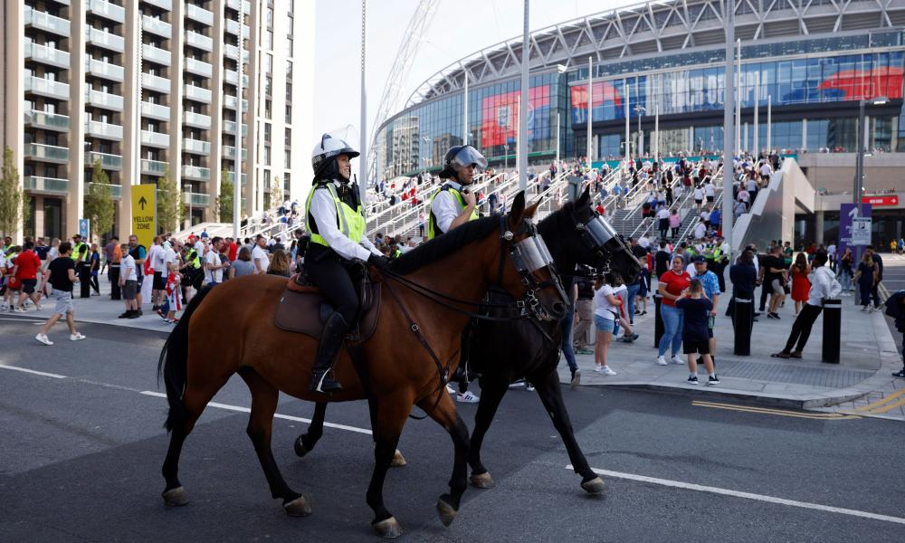 Police officers outside Wembley Stadium before England's game against Andorra in September.