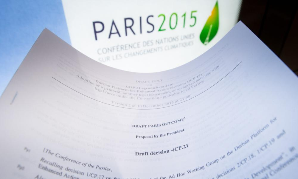 A draft for the outcome of COP21 in Paris, photographed on 10 December 2015, which would be secured two days later after two weeks of fraught negotiations and sleepless nights