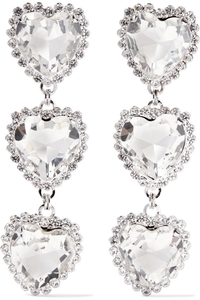Silver-tone crystal clip earrings, £275, Alessandra Rich