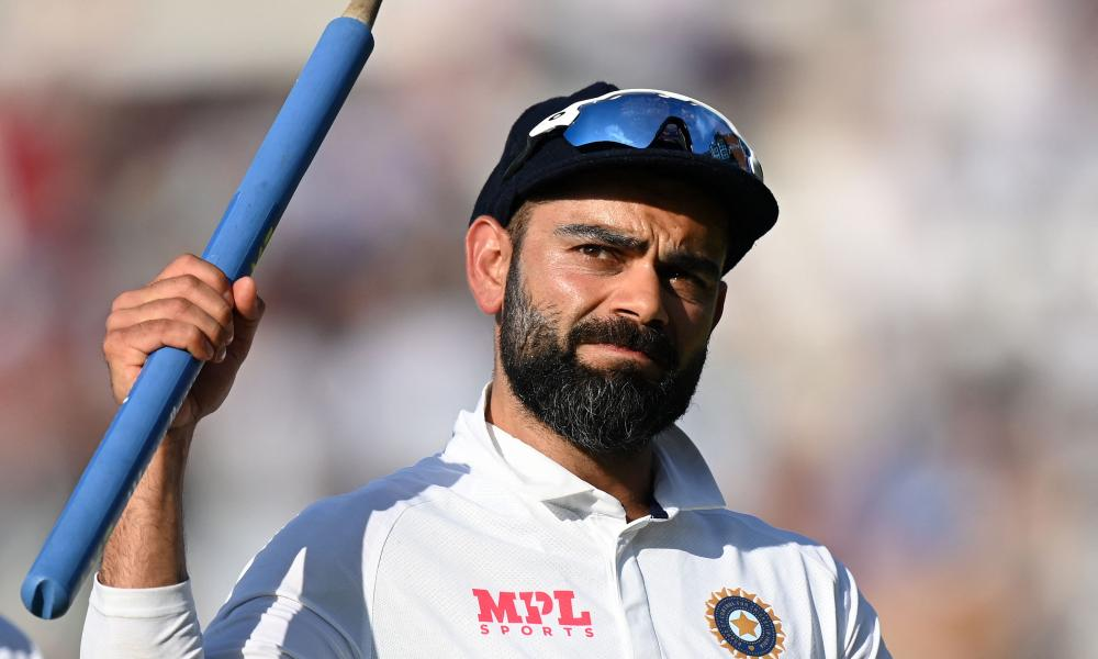 Virat Kohli celebrates with a stump after India beat England in the fourth Test at the Oval