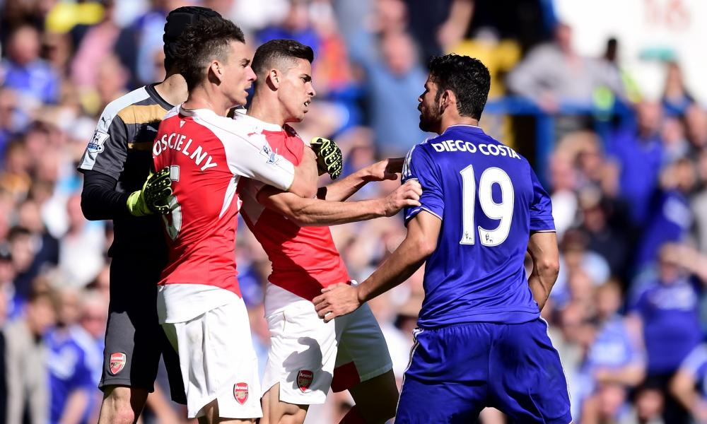 Gabriel Paulista clashes with Chelsea's Diego Costa during his time at Arsenal.