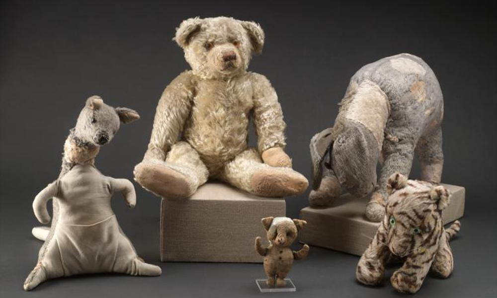 Winnie-the-Pooh with Kanga, Eeyore, Piglet and Tigger: the original stuffed toy animals, in New York before their restoration