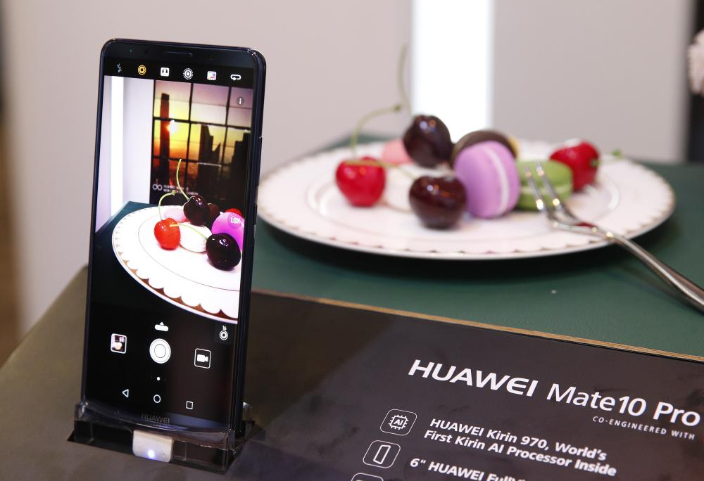 The Huawei Mate10 Pro phone is on display at CES 2018 in Las Vegas.