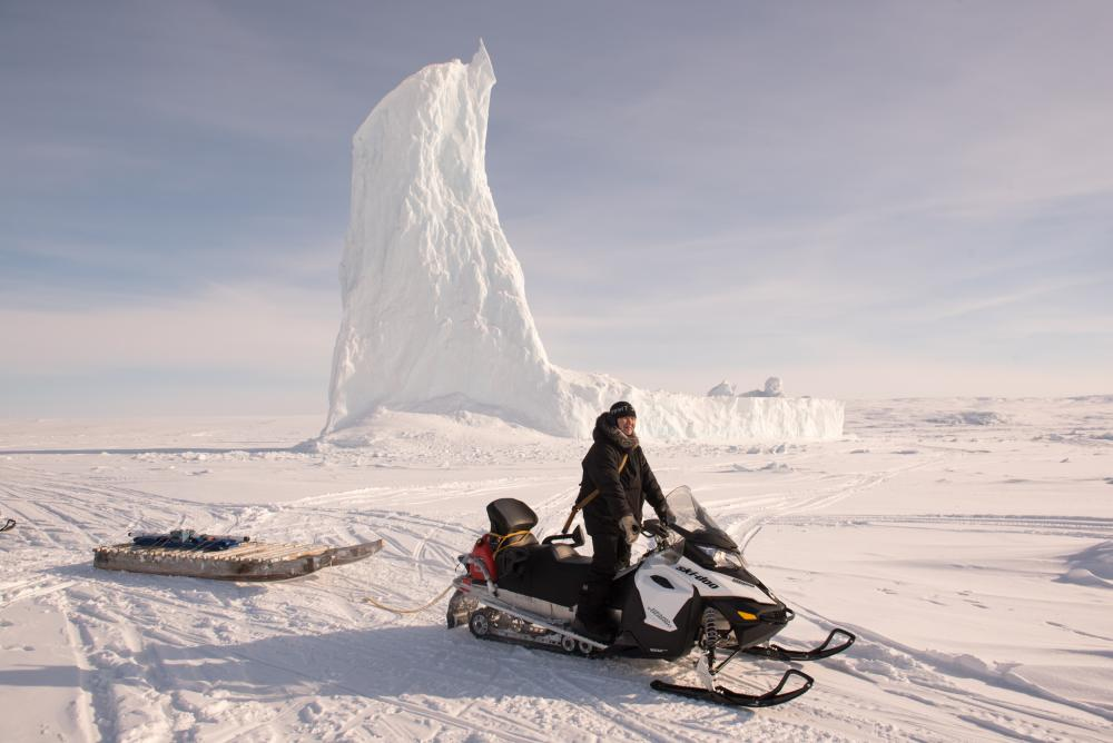 """A """"smart qamutiq"""" – a traditional sledge fitted out with sensors that is towed behind a snowmobile along routes the community use most."""