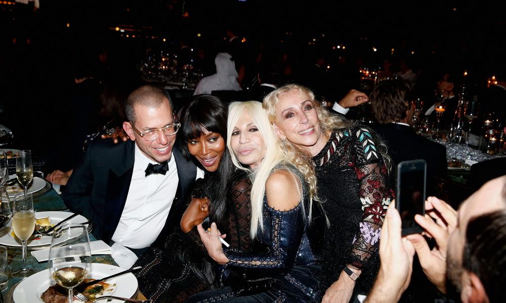 'If you keep going in this direction, I might have to fire you': Condé Nast chairman Jonathan Newhouse with Franca Sozzani, Naomi Campbell and Donatella Versace in Dubai, 2013.