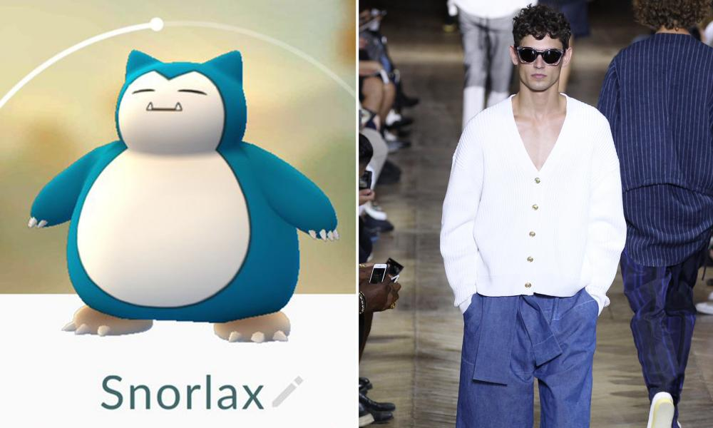 Snorlax: This guy is known for being greedy, fat and narcoleptic. Still, its updated nautical colour scheme and oversized silhouette are very Philip Lim 3.1.