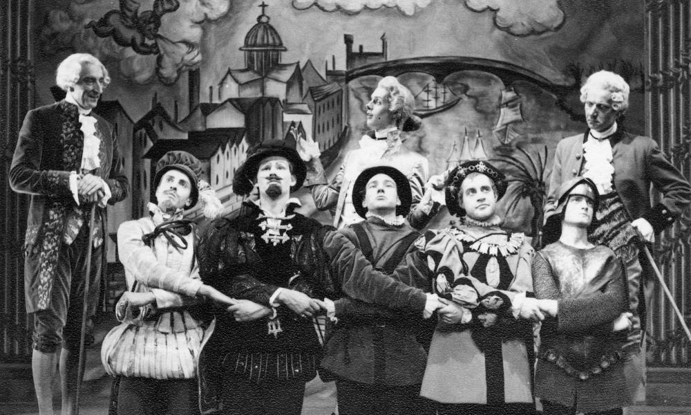 Patrick Stewart, centre front, in the Bristol Old Vic Theatre School production of Sheridan's play The Critic, 1959.