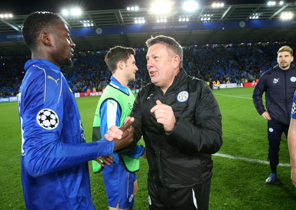 Wilfrid Ndidi with Craig Shakespeare after the famous win over Sevilla.