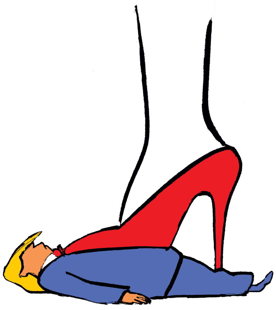 Graphic of giant woman's high-heeled foot standing on Trump