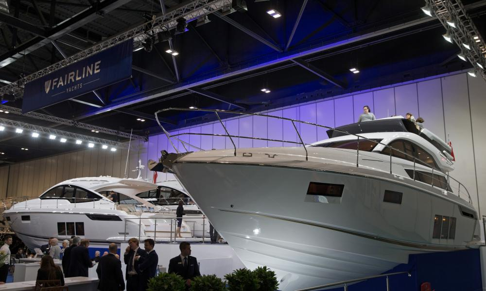 Visitors to the Fairline luxury yacht stand at the 2017 London Boat Show.