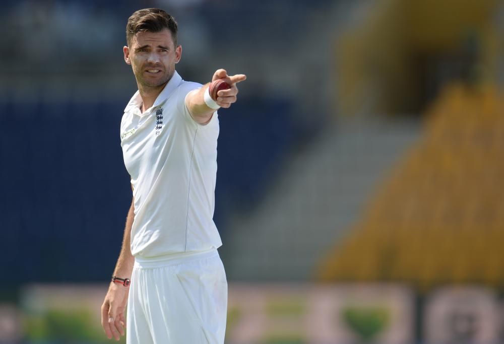 England's James Anderson makes a point.