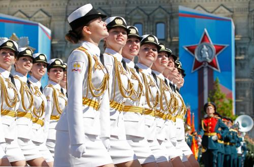 Russian military servicewomen march during the military parade on Red Square in Moscow in celebration of the 71st anniversary of the victory over Nazi Germany in the second world war.