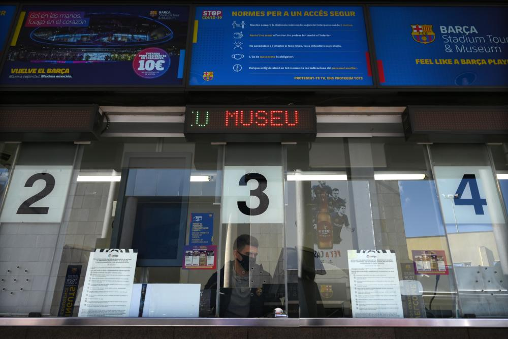 The ticket office of the Camp Nou stadium is pictured in Barcelona on October 23, 2020, on the eve of the