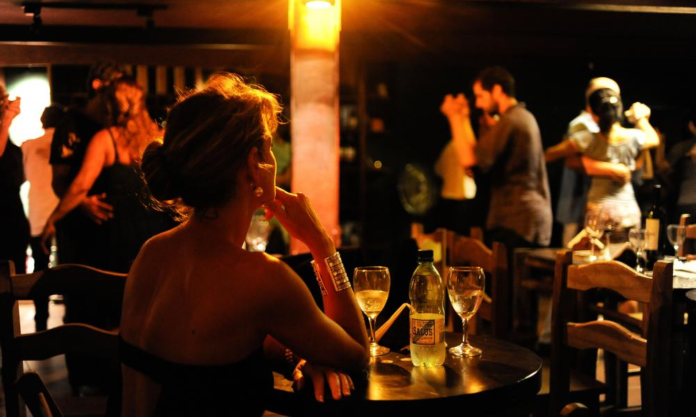 Tango dancing at wine bar and live music venue Museo del Vino, Montevideo.