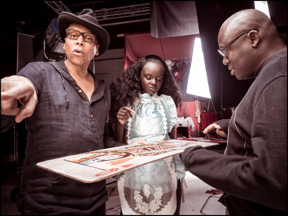 RuPaul, Duckie Thot and Edward Enninful backstage at the shoot.