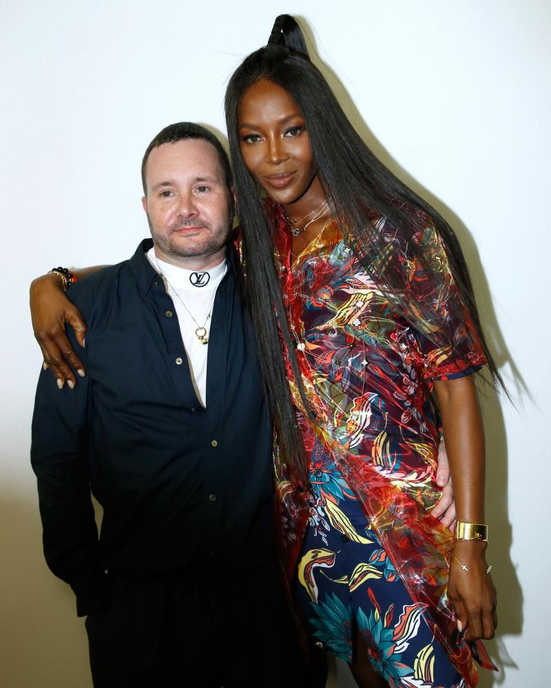 Kim Jones and Naomi Campbell at the Louis Vuitton show.