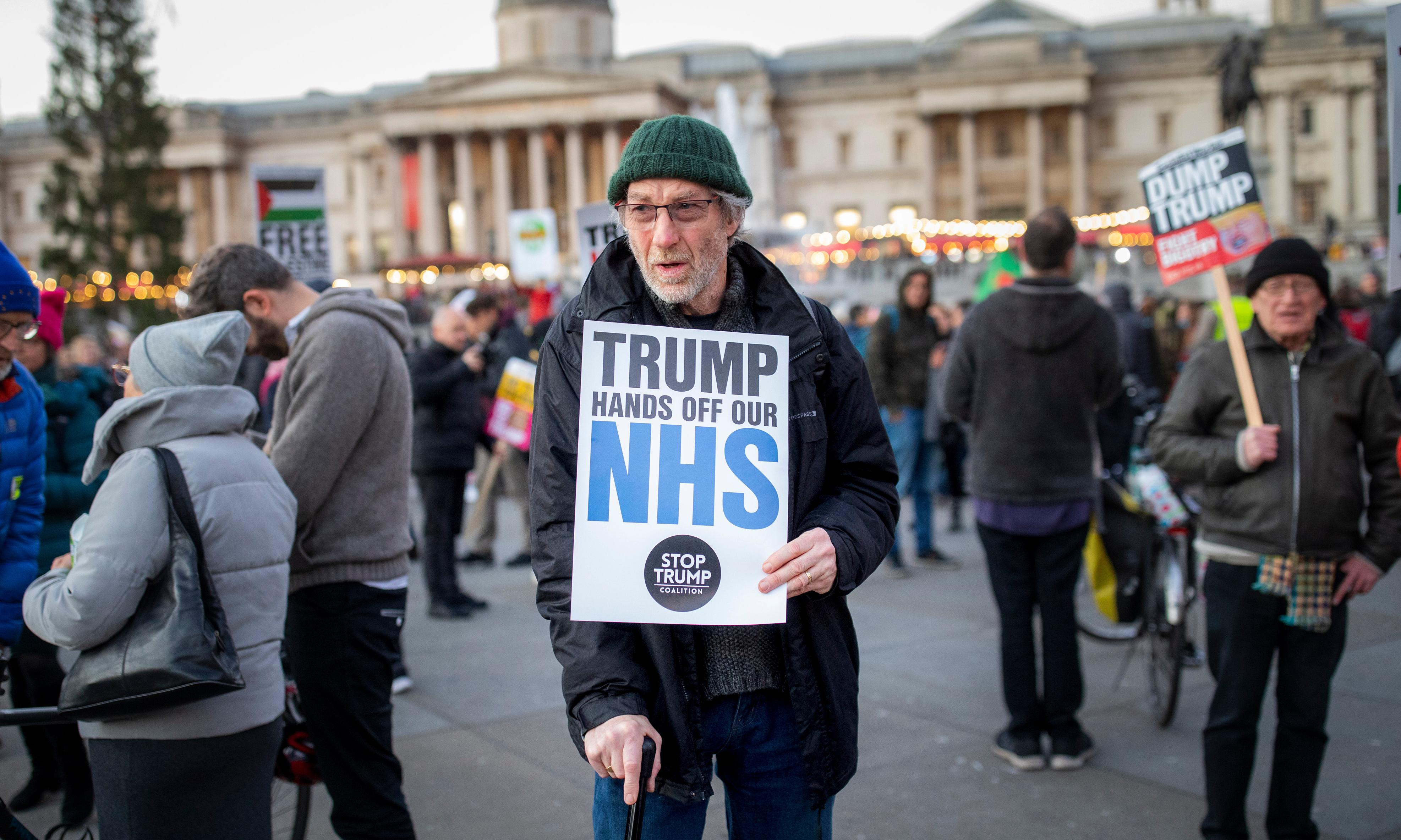 NHS medics reject 'ideology of Trump' in rally against visit