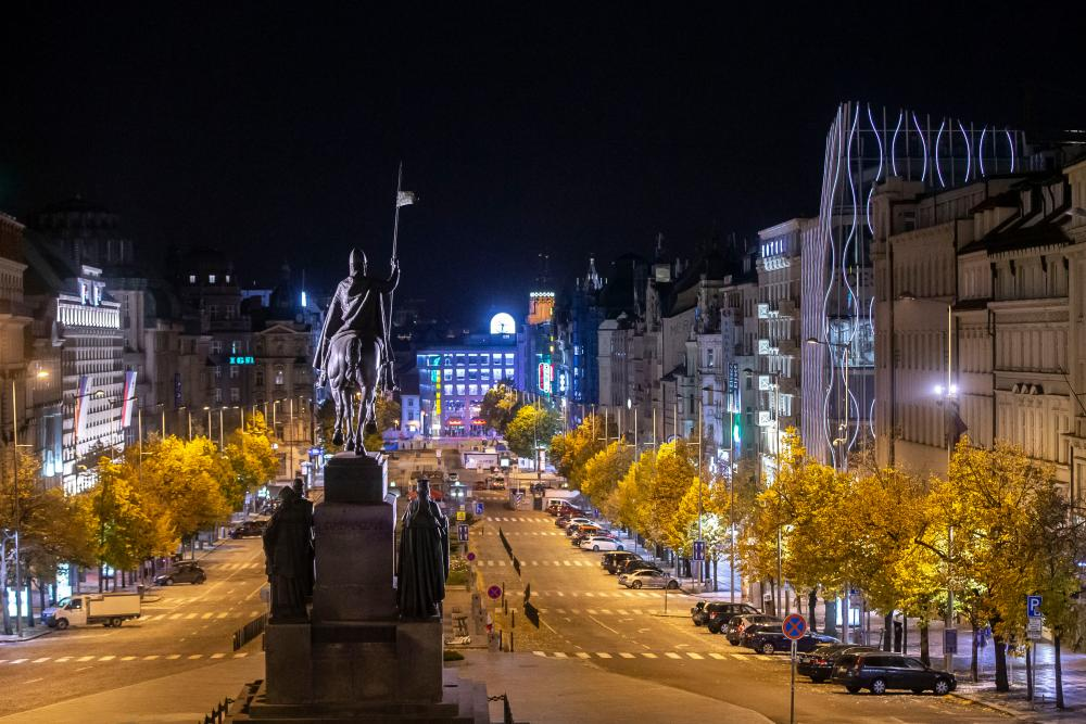 An empty Wenceslas square is seen during the curfew in Prague.