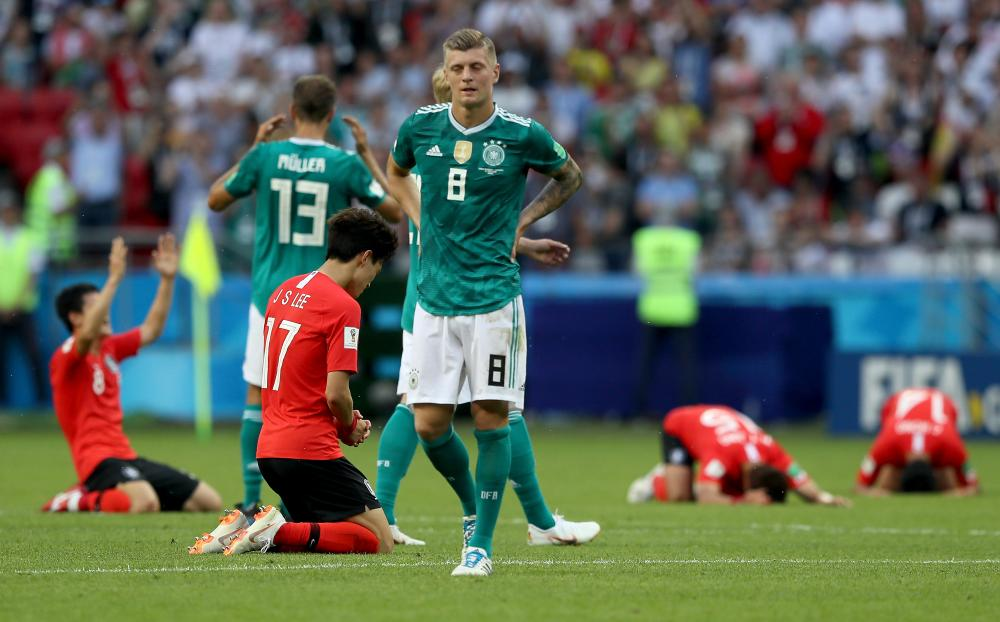 A dejected Toni Kroos after Germany lost to Korea and and are out of the World Cup.