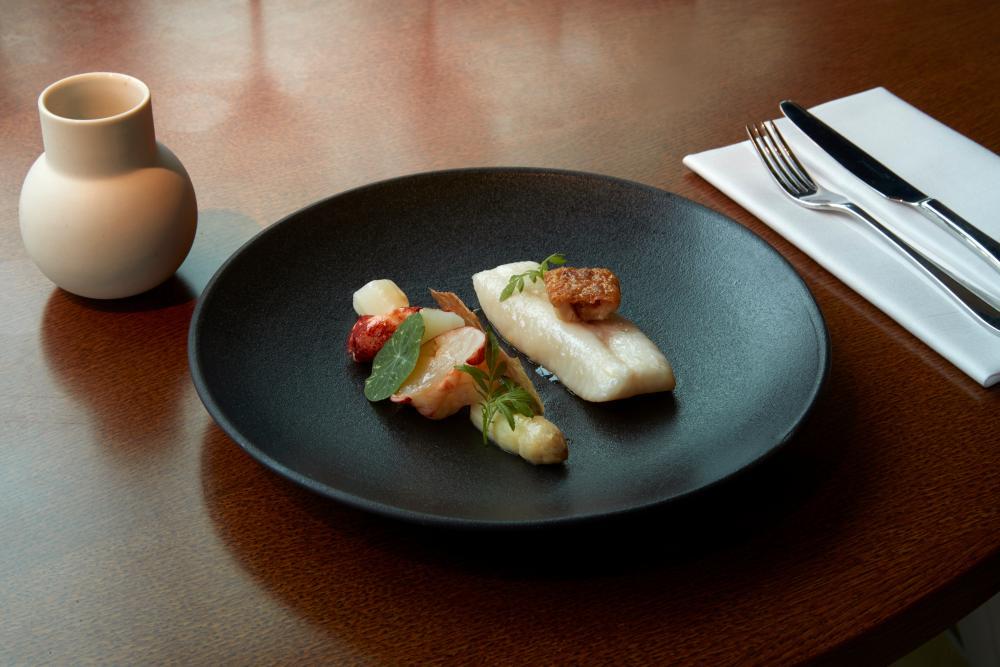Abtemious: poached john dory with langoustine velouté