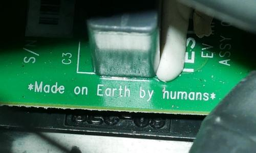 A image of the text printed on the circuit board of Elon Musks Tesla roadster which was launched into Orbit. February 2018.Photo By Elon Musk