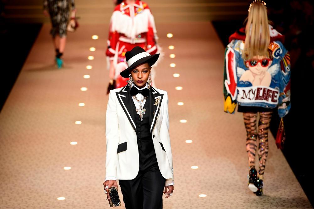 Models on the catwalk for Dolce & Gabbana