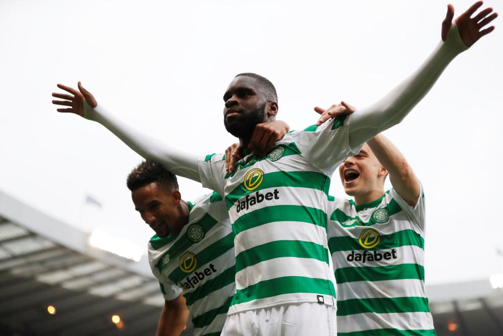 Celtic's Odsonne Edouard celebrates scoring their second.