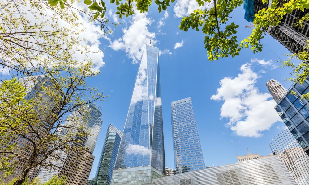 One World Trade Center at daytime in spring, Manhattan, New York, USA