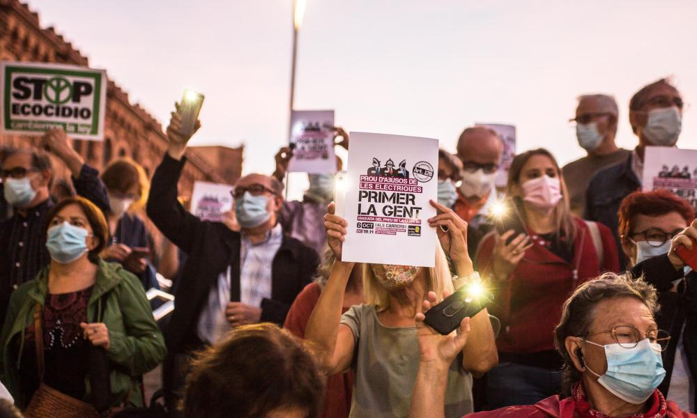Protesters rally against rising electricity bills in front of the headquarters of the energy firm Endesa in Spain.