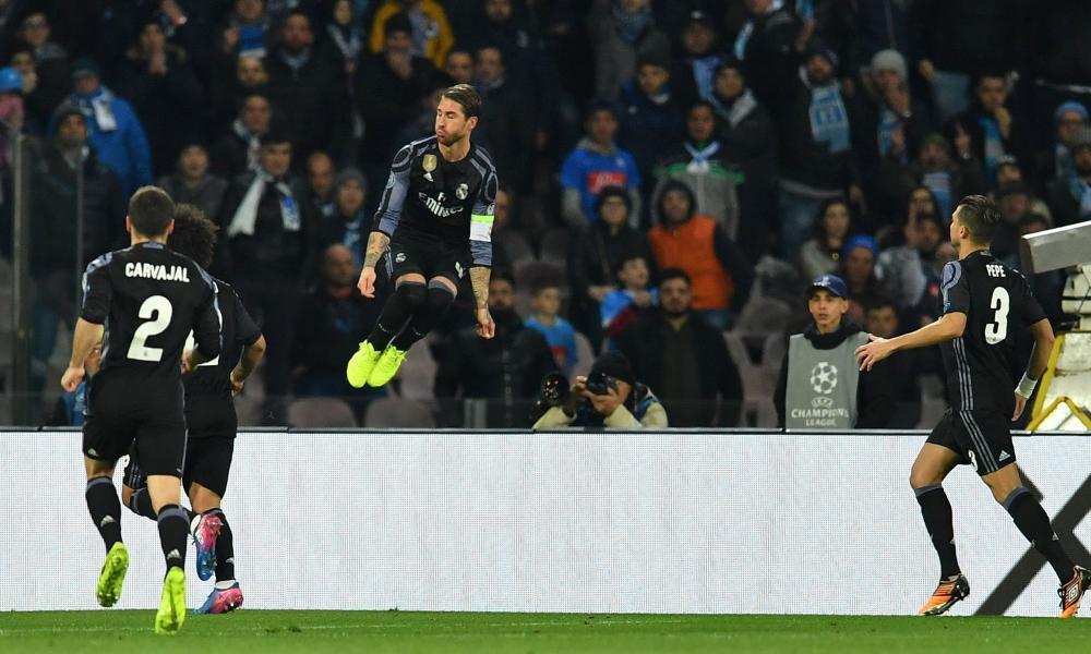 Real Madrid's defender Sergio Ramos, centre, celebrates after scoring their equaliser.