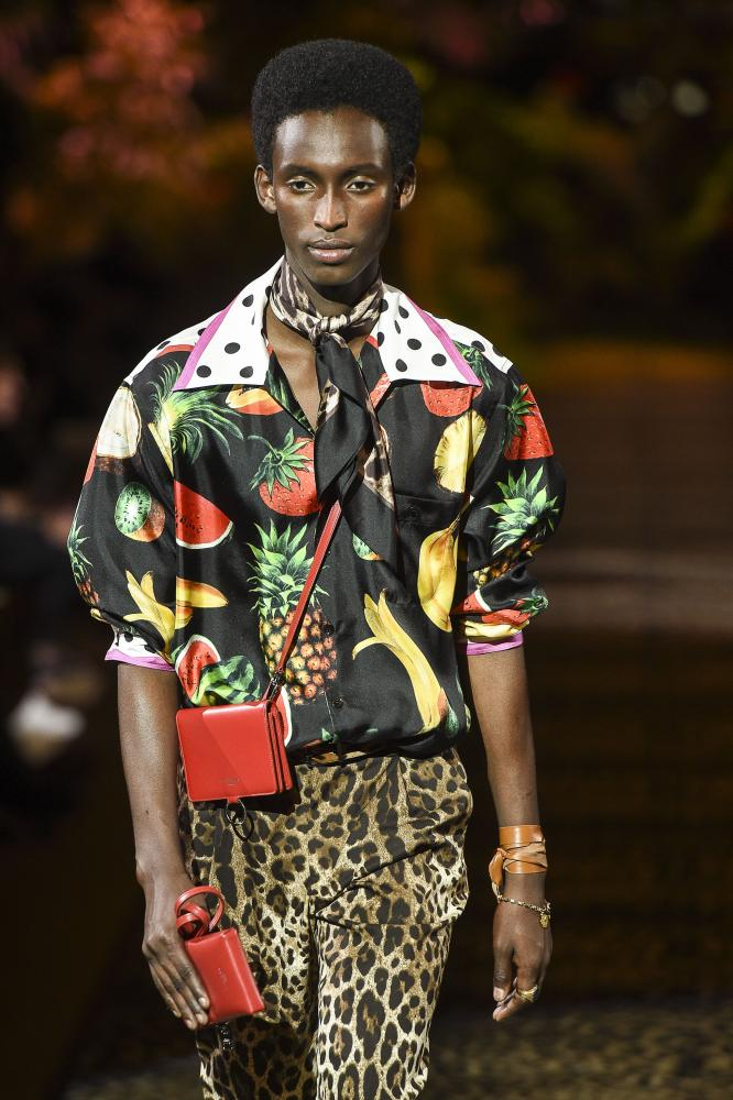 Designers Domenico Dolce and Stefano Gabbana paid homage to their southern Italian roots with fruit-bowl prints.