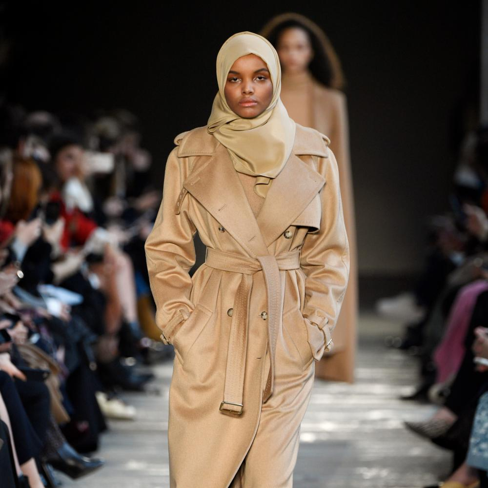Halima Aden models for Max Mara at Milan fashion week, February 2017.
