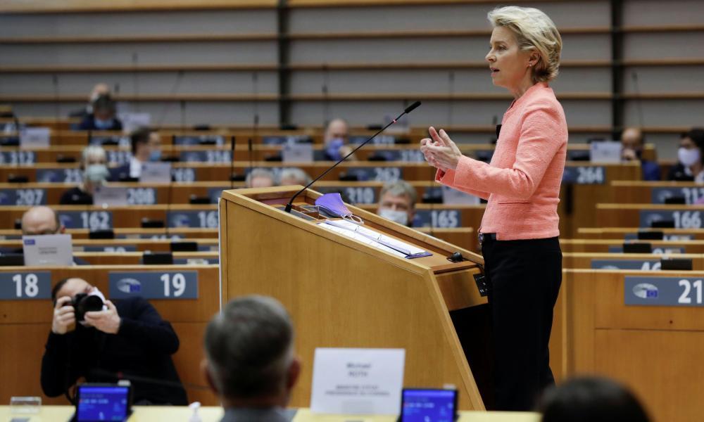 Ursula von der Leyen gives her first State of the Union speech to the European parliament.