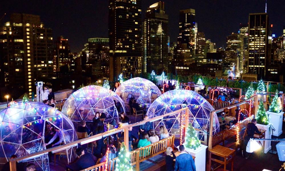 Igloos at the 230 Fifth bar in New York.