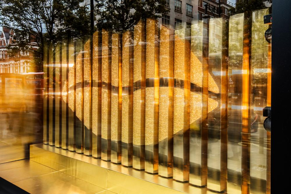 The Gold Lips window in Pat McGrath's Selfridges pop-up store.
