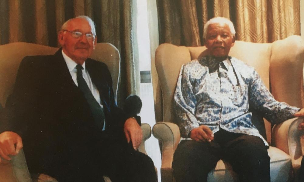 Norman Levy with Nelson Mandela, who invited him to play a role in rebuilding South Africa
