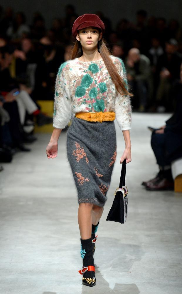 A model during Prada's show.