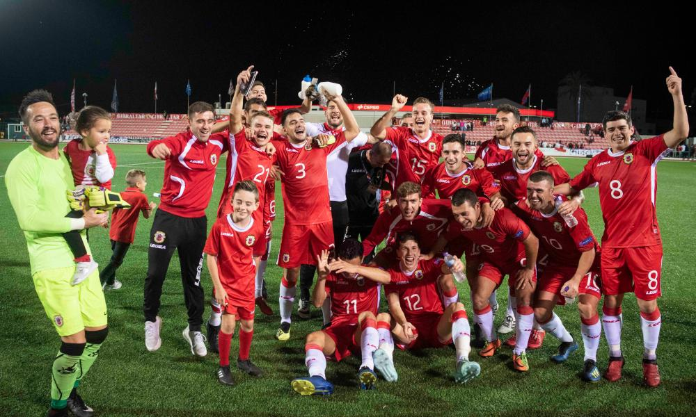 Gibraltar players celebrate after beating Liechtenstein, their second consecutive win, in October.