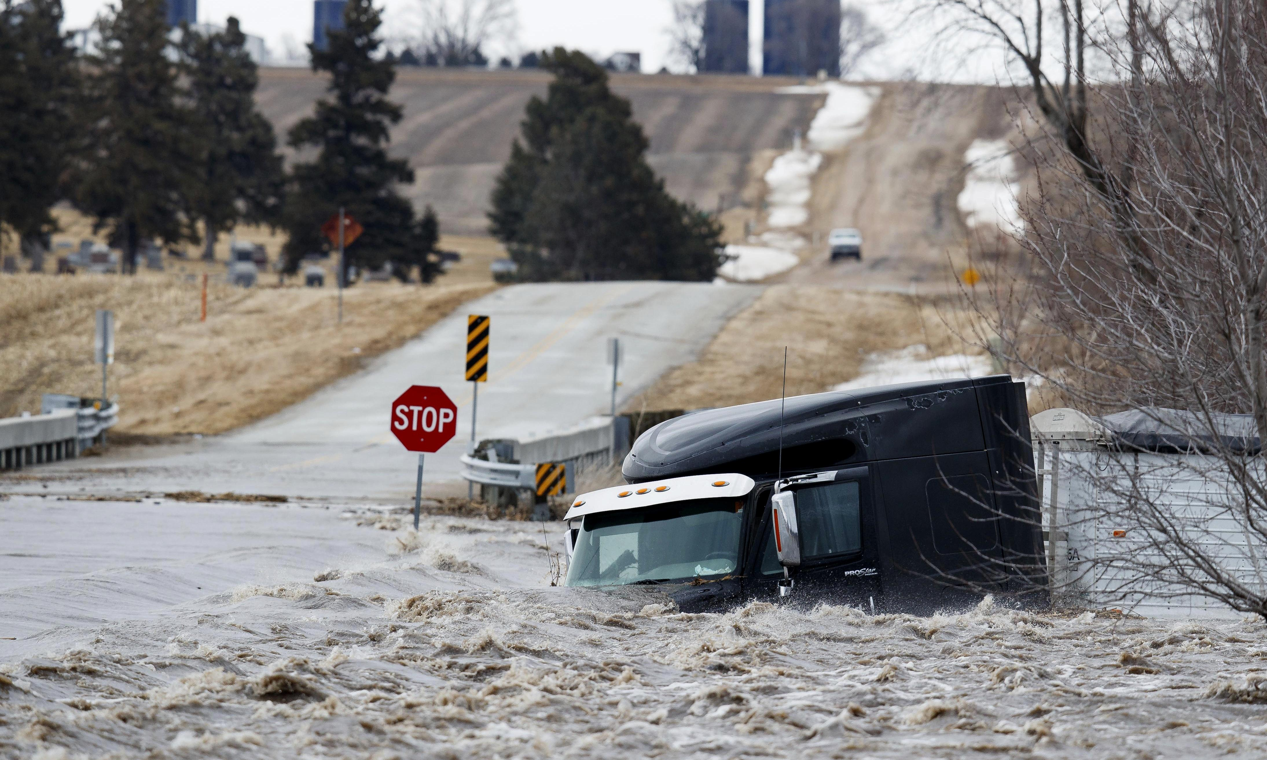 Nebraska floods leave towns submerged and at least one dead