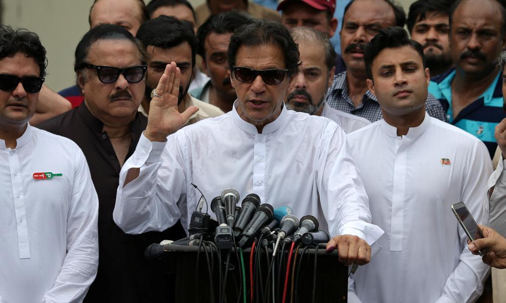 Chairman of Pakistan Tehreek-e-Insaf (PTI) speaks to members of media in Islamabad.