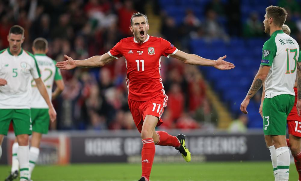 Gareth Bale of Wales celebrates after he scores Wales' second goal.