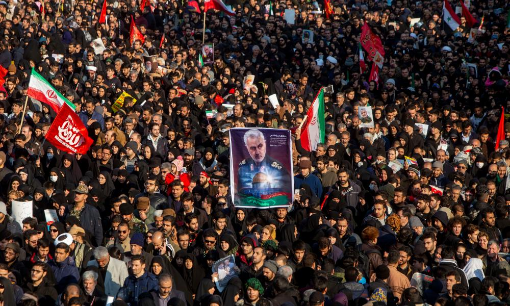 Mourners attend a funeral ceremony for Qassem Suleimani in January last year in Tehran.
