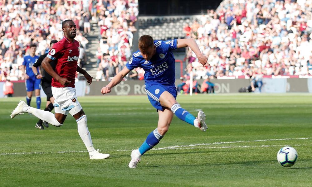 Leicester City's Harvey Barnes scores their second goal.