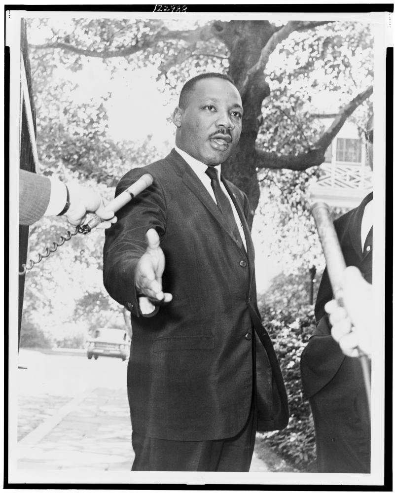 Martin Luther King at press conference at Gracie Mansion