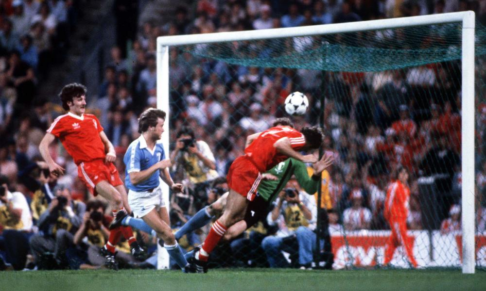 Trevor Francis heads the winning goal for Nottingham Forest in the 1979 European Cup final against Malmö.
