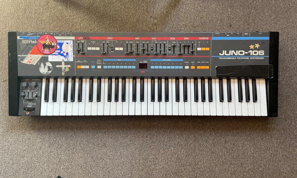 A Juno synthesiser given to Julian Hamilton as a child