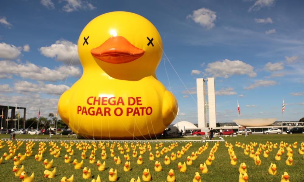 Quack attack … an eye-catching political protest in Brazil, from Hope to Nope: Politics and Graphics 2008-2018, at the Design Museum, London.