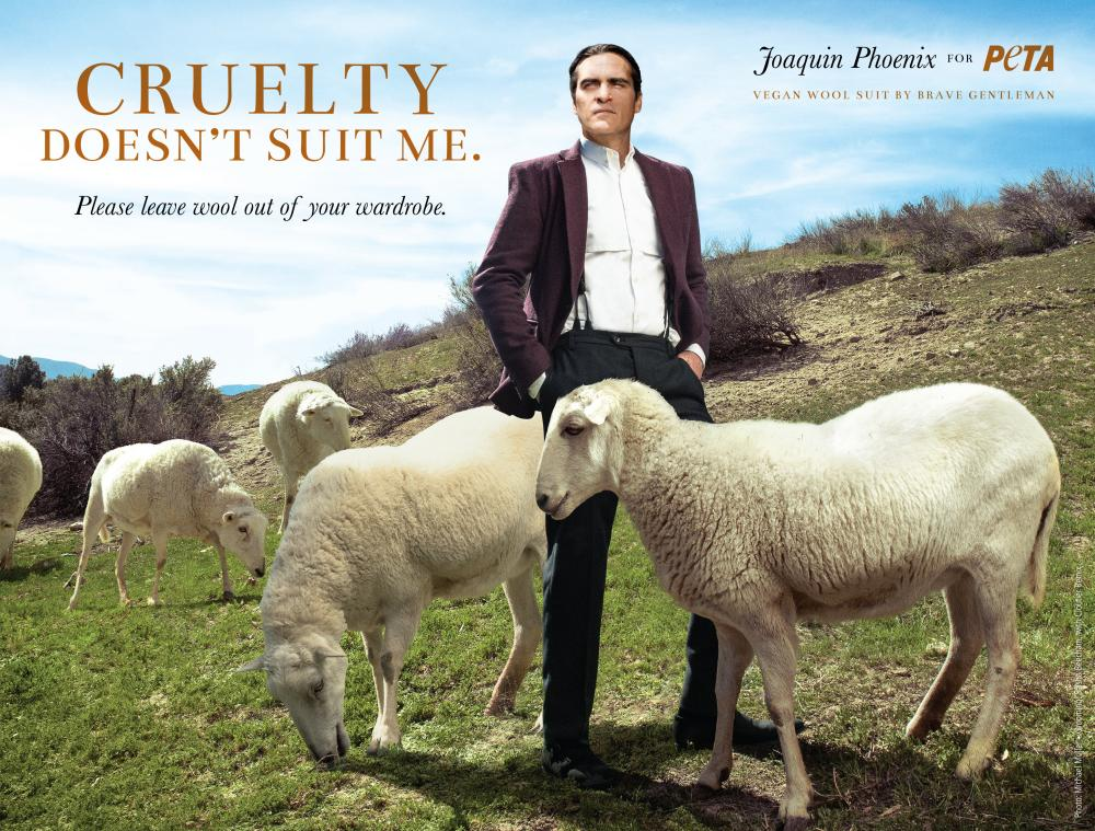 Joaquin Phoenix in a Peta advert.