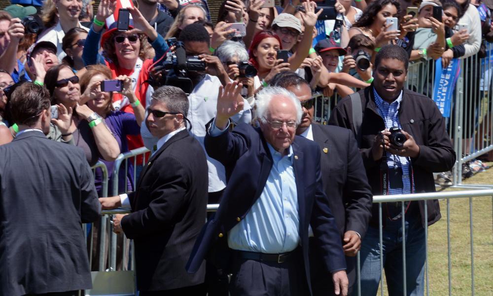 Sanders at Ventura College in Ventura, California, on Thursday.