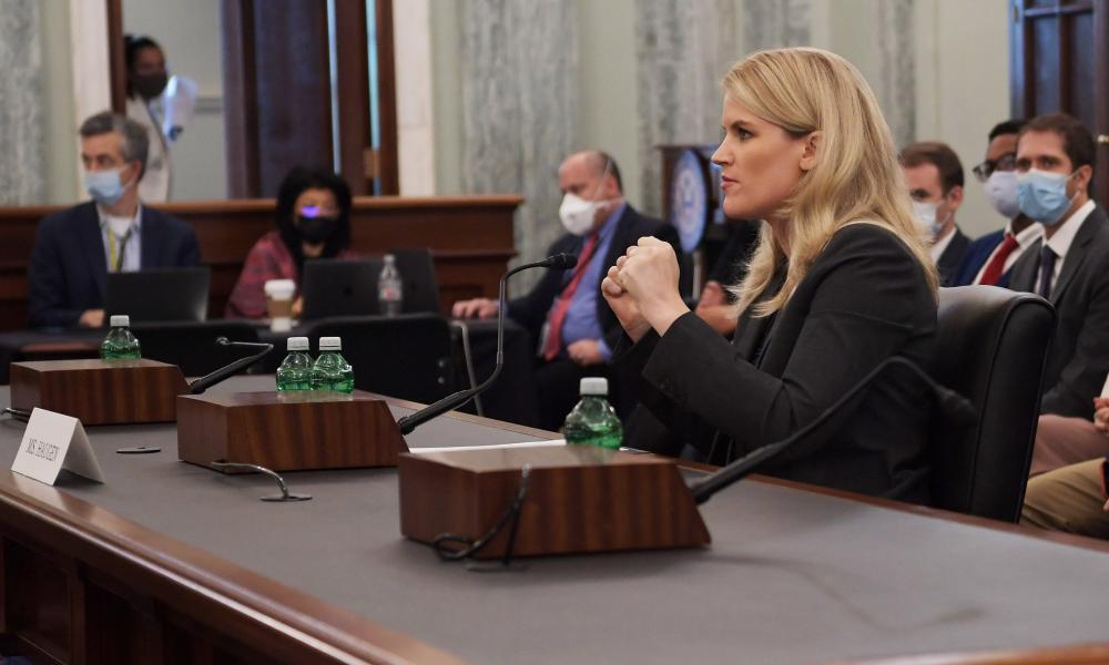 Frances Haugen, a former employee of Facebook,  testifies before a senate committee on consumer protection.